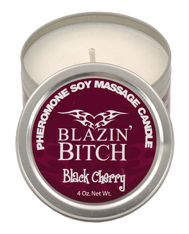 Blazin' Bitch Pheromone Soy Massage Candle - 4 Oz Black Cherry