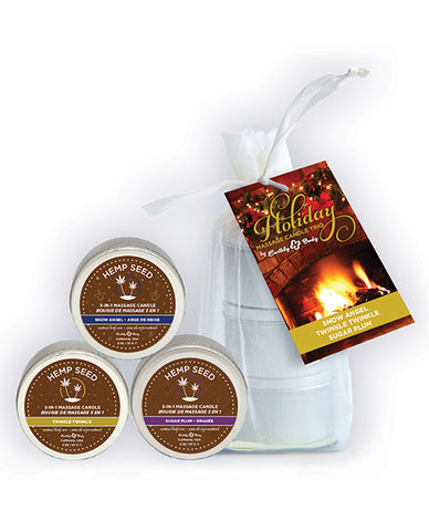 Earthly Body Holiday 2019 3 In 1 Massage Candle Trio Gift- 2 Oz Twinkle, Snow & Sugar Bag Of 3