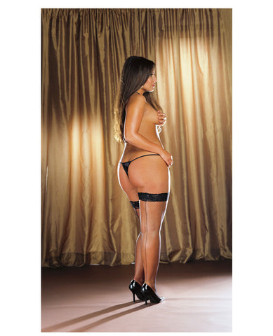 Stay Up Fishnet Thigh Highs W-back Seam (thong Not Included) Black Qn