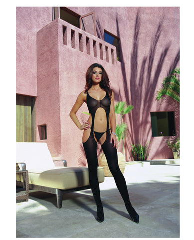 Sheer Suspender Tank Bodystocking Black O-s