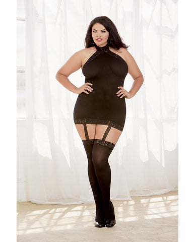 Sheer Dress W-lace Trim, Attached Garters & Thigh High Stockings (thong Not Included) Black Qn