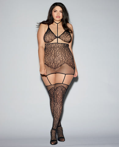 Lace & Fishnet Grter Dress W-attched Neck Collar & Thigh Highs, Bralette W-adjust Strps Black Qn