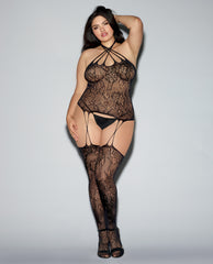 Fishnet Lace Bustier Bodystocking, Snap Closure At Neck & Attached Thigh Highs Black Qn