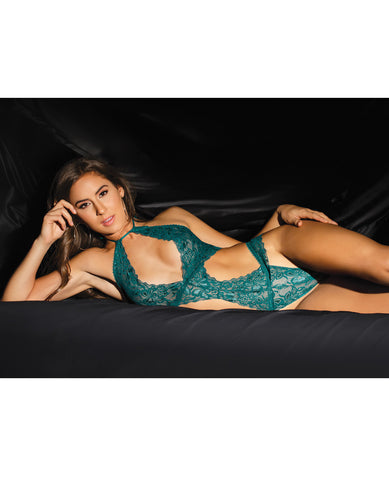 Fashion Stretch Lace Halter Teddy W-back Lace-up Detail On Panty Teal O-s