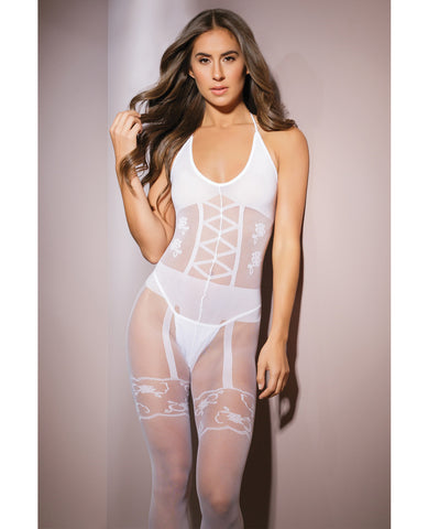 Sleek Sheer Nylon Opaque Print Bodystocking White O-s
