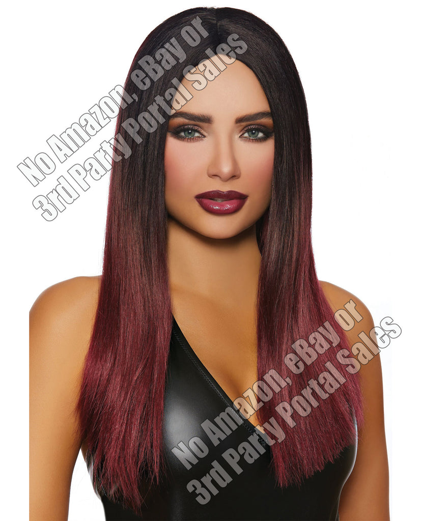 Long Straight Ombre Wig - Black-burgundy