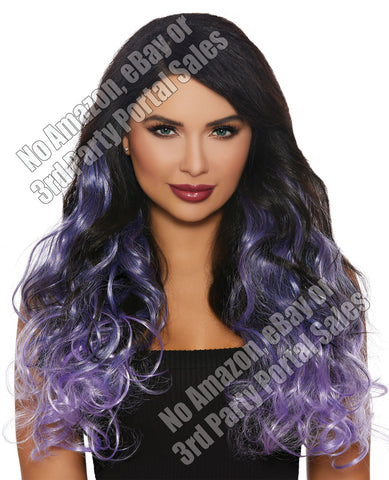 Long Curly Ombre 3 Pc Hair Extensions - Gun Metal-lavender-lilac