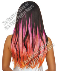 Long Straight Layered 3 Pc Hair Extensions - Magenta-neon Pink-orange