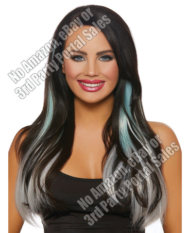 Long Straight Ombre 3 Pc Hair Extensions - Aqua-light Gray
