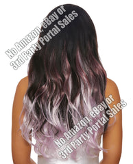 Long Wavy Layered 3 Pc Hair Extensions - Burgundy-pale Lavender
