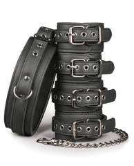 Easy Toys Fetish Set W-collar, Ankle & Wrist Cuffs - Black