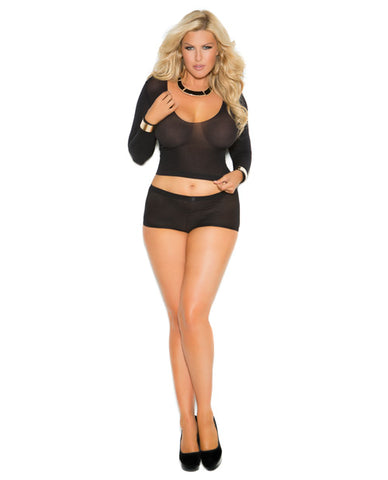 Opaque Long Sleeve Cami Top & Booty Shorts W-ruched Back Black Qn