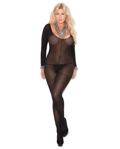 Opaque Long Sleeve Bodystocking W-open Crotch Black Qn