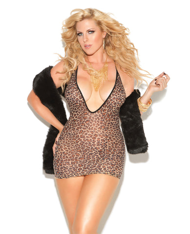Vivace Deep V Mini Dress Leopard Qn