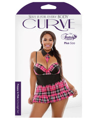 Curve Preppy In Pink Schoolgirl Set Black-pink 1x-2x