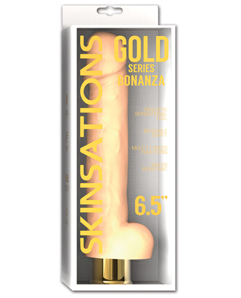 "Skinsations Gold Series Bonanza 6.5"" Vibrating Dildo"