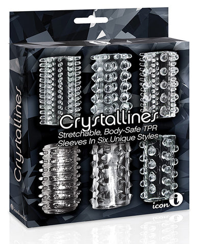 The 9's Crystalline Tpr Cock Sleeve 6 Pack - Clear