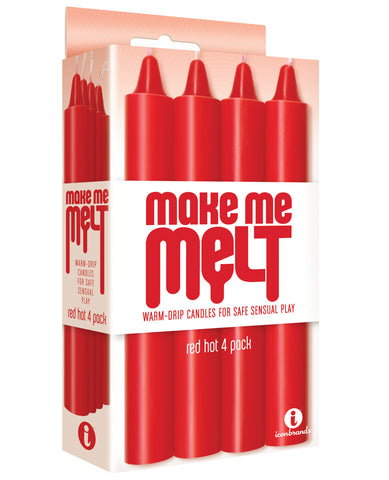 The 9's Make Me Melt Sensual Warm Drip Candles - Red Hot Pack Of 4