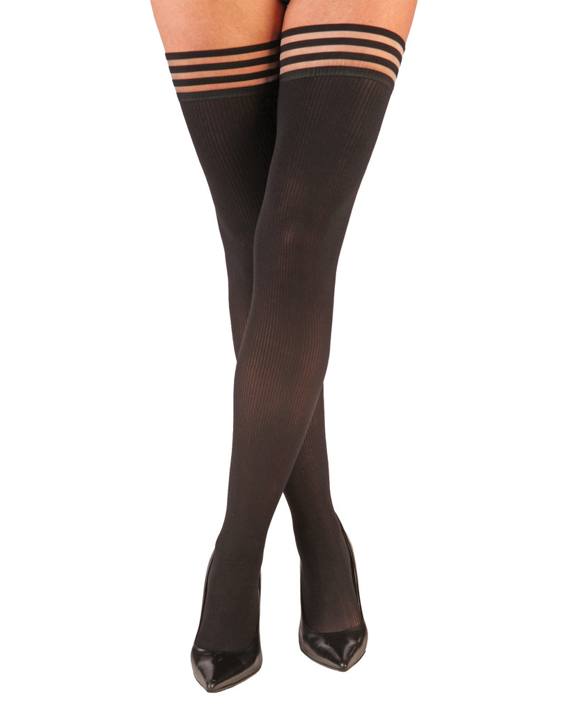 Kix'ies Dana Lynn Ribbed Thigh High Black A