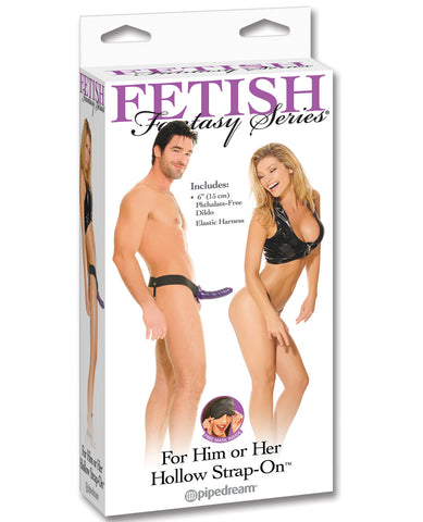 Fetish Fantasy Series Him Or Her Hollow Strap On - Purple