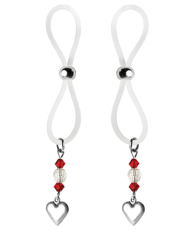 Bijoux De Nip Nipple Halos Heart Charm - Red-clear
