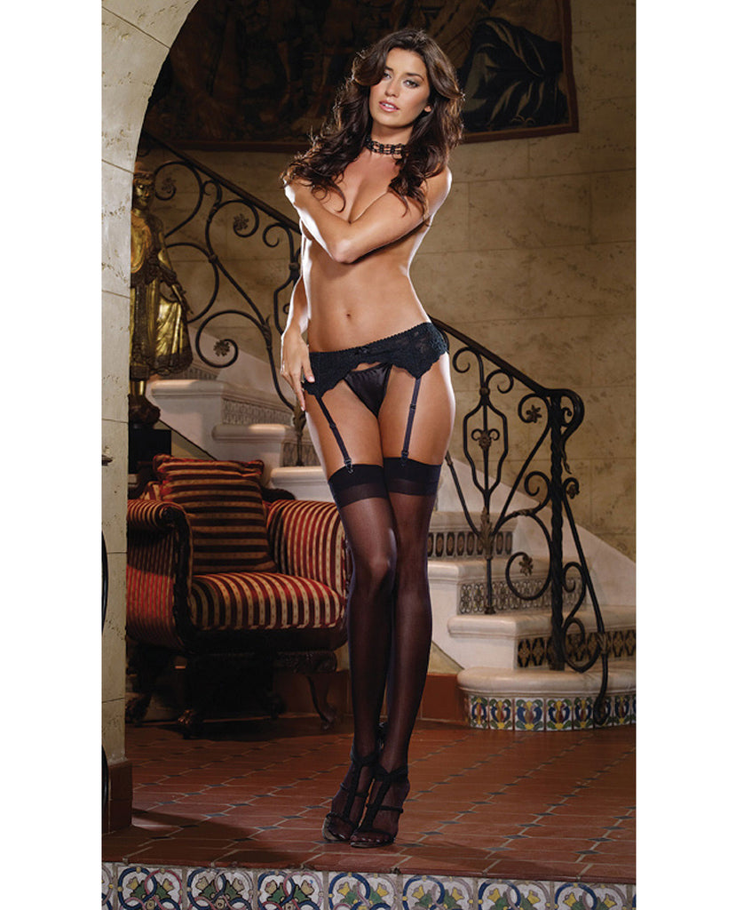 Stretch Lace Garter Belt W-scalloped Hem Black O-s