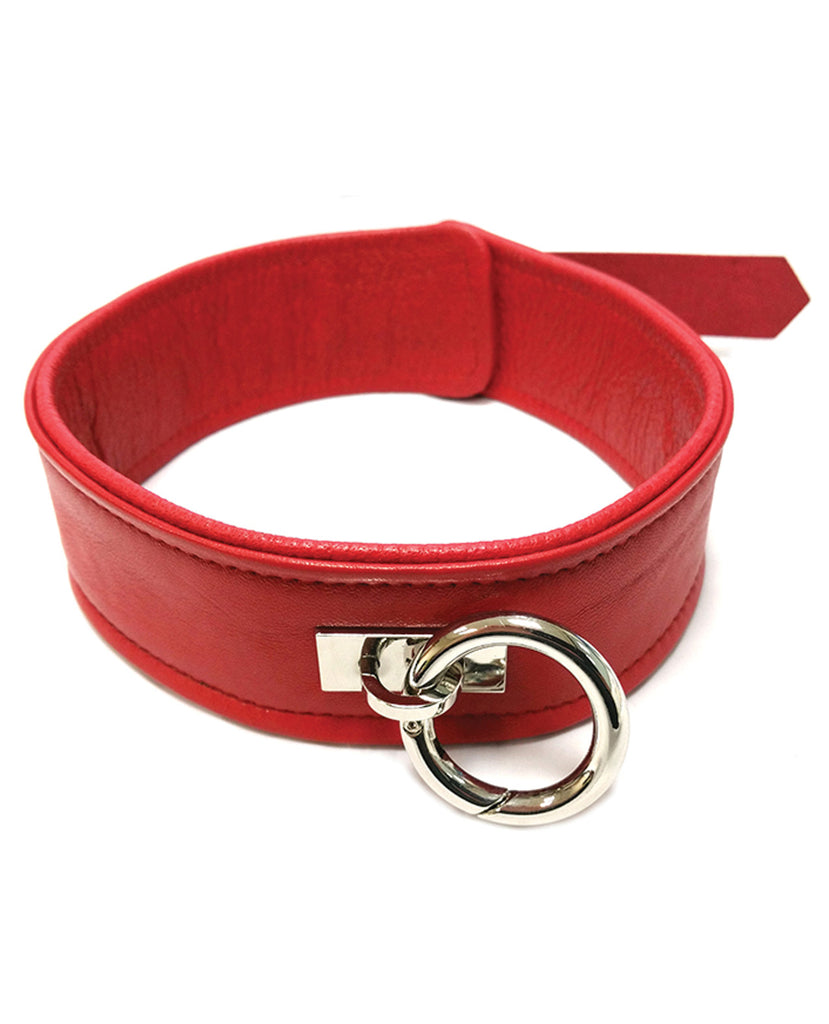 Rouge Plain Leather Collar - Red