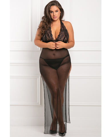 Rene Rofe All Out There 2 Pc Gown Set Black 3x-4x