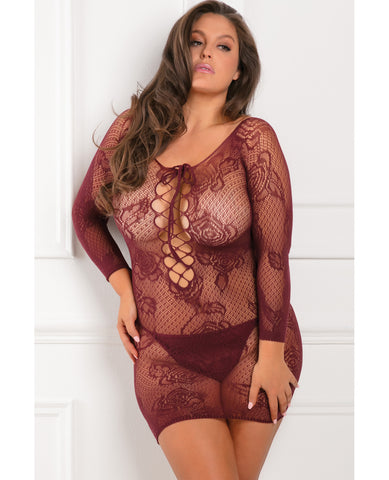 Rene Rofe Tie Breaker Long Sleeve Dress Burgundy 1x-3x