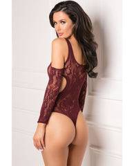 Rene Rofe Set The Mood Bodysuit Burgundy O-s