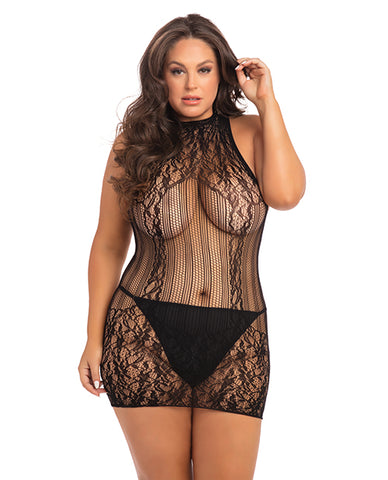 Rene Rofe Reckless Lace Mini Dress Black 1x-3x