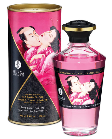 Shunga Warming Oil - 3.5 Oz Raspberry Feeling
