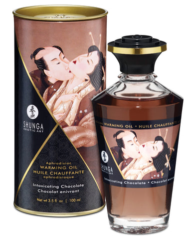 Shunga Warming Oil Intoxicating Chocolate - 3.5 Oz.