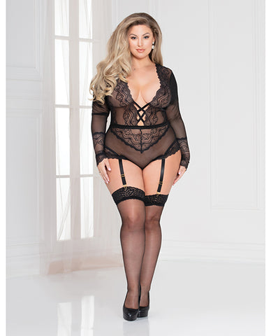 Lace  Snap Crotch Teddy W-removable Garters Black 3x-4x