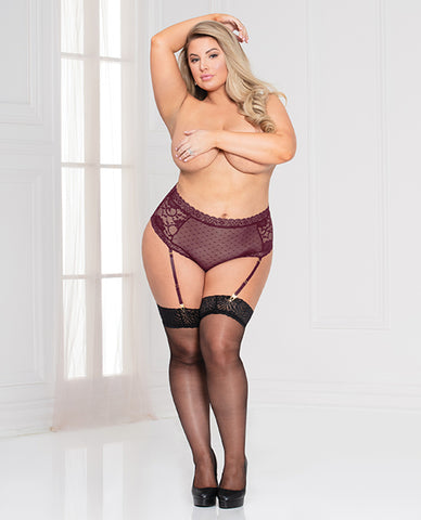 Lace & Dotted Mesh High Waist Panty W-removable Garters Wine 3x-4x