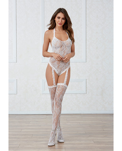Lace Teddy Bodystocking W-pearl Back & Attached Garters & Thigh High Stockings White O-s