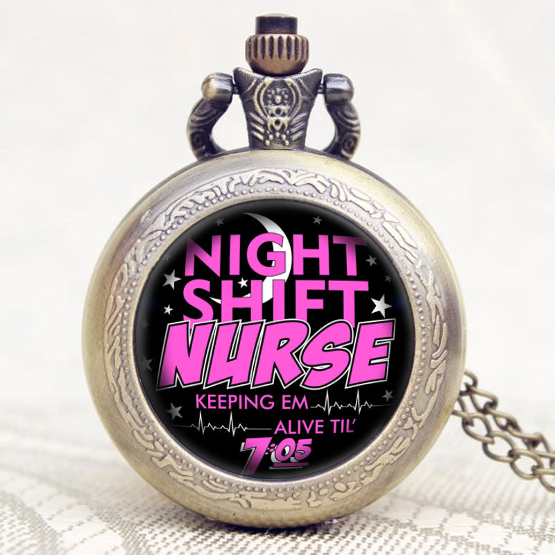 Night Shift Nurse Theme Glass Dome Pocket Watch With Necklace Chain