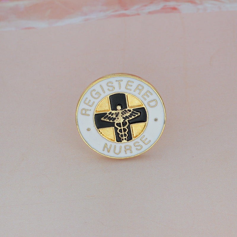 REGISTERED NURSE Brooch Medical White Enamel Pin