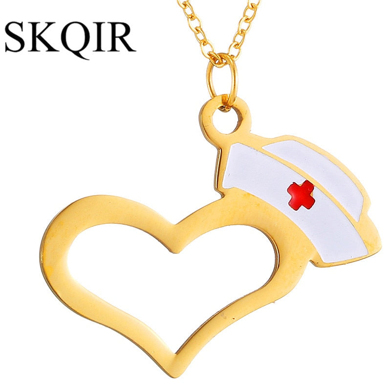 Hat And Heart Necklace Pendants For Nurse