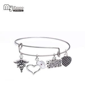 Nurses Call The Shots Charm Bracelets Stainless Steel