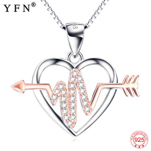 Sterling Silver Rose Crystal Arrow Through Heart Love Pendants Necklace