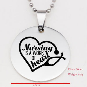 Nursing Is A Work Of Heart Necklace Keychain