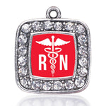 REGISTERED NURSE SQUARE CHARM  ANTIQUE SILVER PLATED CRYSTAL JEWELRY
