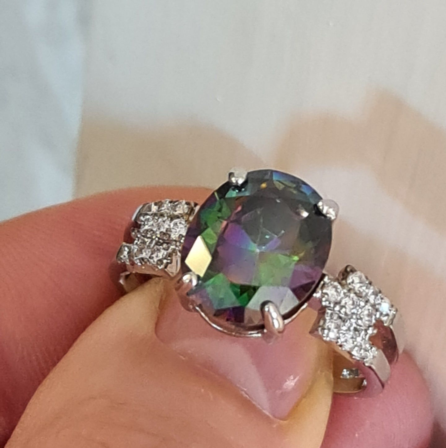 Size 10 (T - U 1/2) Lovely Mystic Topaz Ring