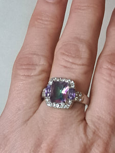 Size 9 - 9.5.   Beautiful Ring in Mystic Topaz