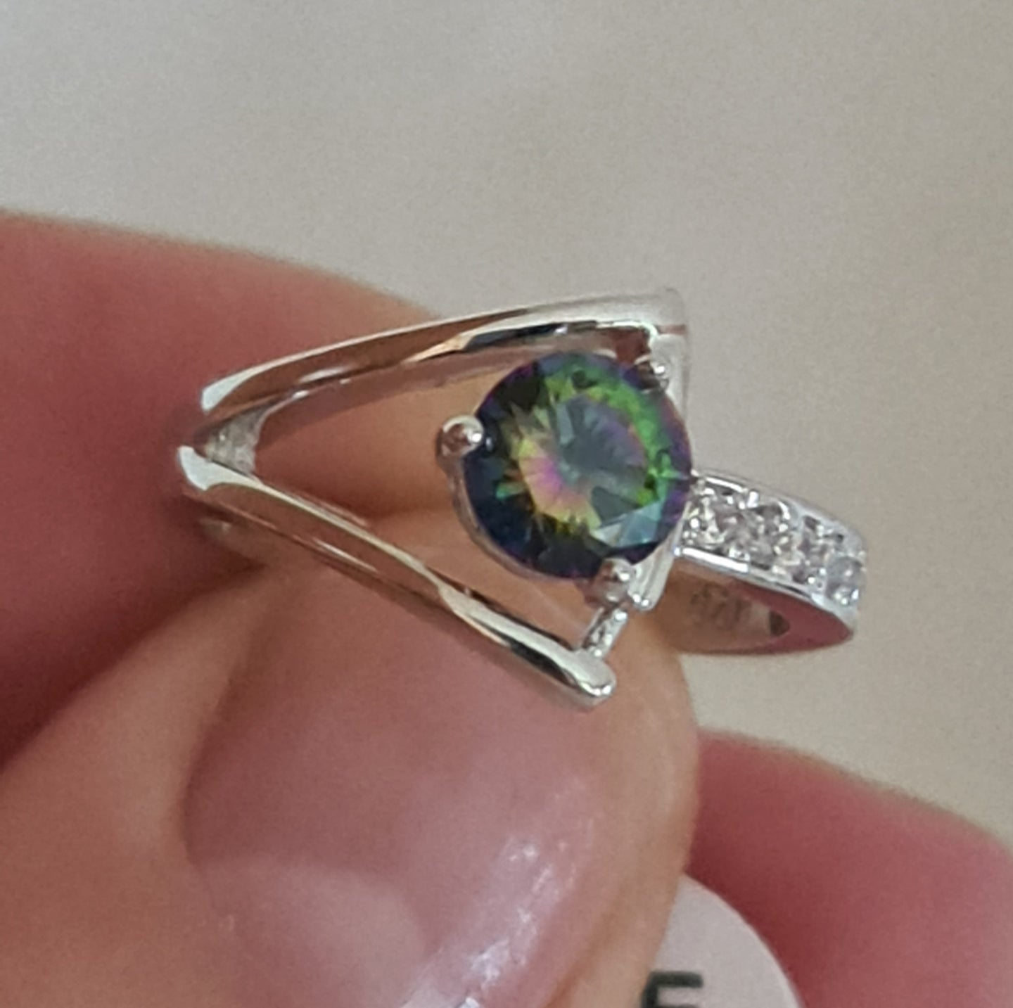Unique small sized 6, Mystic Topaz Ring