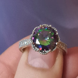Antique Style ring in Mystic Topaz