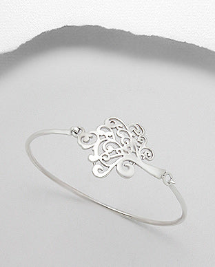 Sterling Silver Tree of Life Bangle Bracelet - Girl Smiles