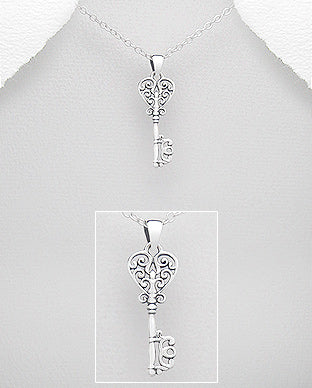 Sterling Silver Filigree Heart Key Necklace - Girl Smiles