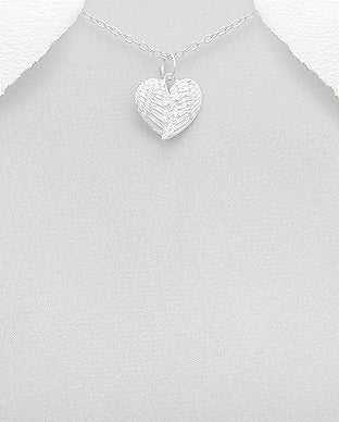 Sterling Silver Angel Wings Heart Necklace - Girl Smiles